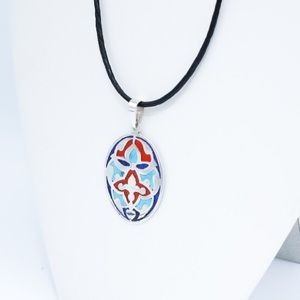 Glass and Silver Berber Pendant Sp0105